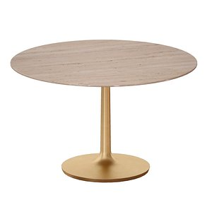 Nero 48 Brown Marble Dining Table with Brass Base 3D model
