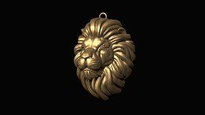 3D model print lion head pendant