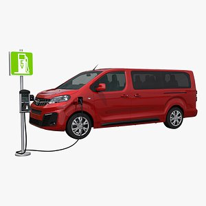 Opel Zafira-e  and Charging point 3D model