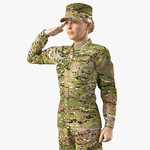 3D female soldier camouflage saluting model