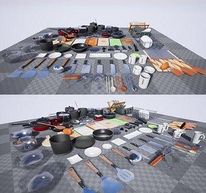 3D Interior  Game Kitchen Stuff Equipment Props