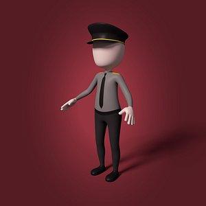 3D cartoon police officer model