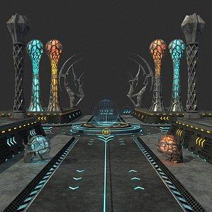 3D sci-fi road column