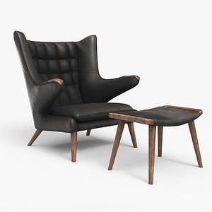 Papa Bear Chair And Ottoman Worn Black Leather 3D model
