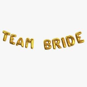 3D Foil Baloon Words Team Bride Gold(1)