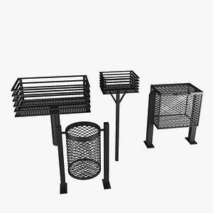 3D house iron trash set model
