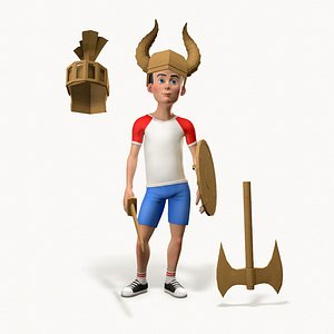 3D stylized character cardboard weapons