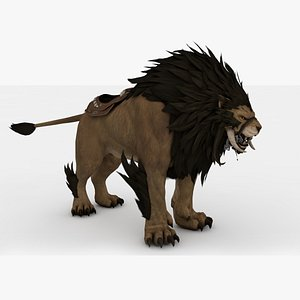 Saber Lion Rigged and Animated model