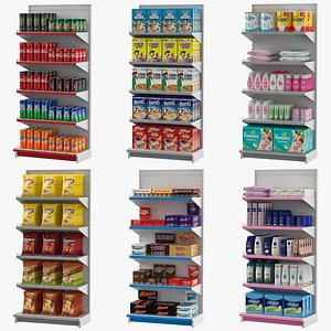 3D Supermarket Stand Shelves Collection