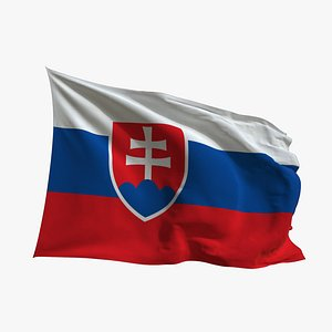 Realistic Animated Flag - Microtexture Rigged - Put your own texture - Def Slovakia 3D model