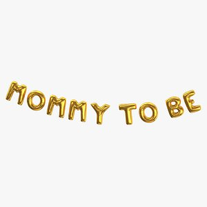3D Foil Baloon Words Mommy to be Gold