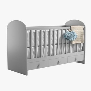 realistic baby bed 3D model