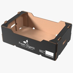 3D Corrugated Paper Fruit Tray Box Black Print