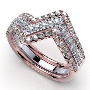 3D set rings diamonds wires model