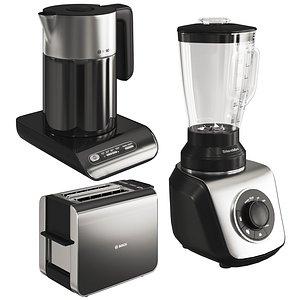 set small black kitchen appliances 3D model