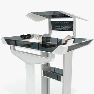 3D sci-fi railway station - model