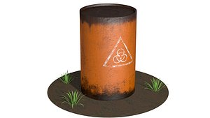 3D model barrel industry container
