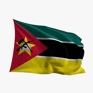 3D Realistic Animated Flag - Microtexture Rigged - Put your own texture - Def Mozambique