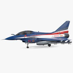 Chengdu J10 S Aerobatic Team Fighter Jet Armed 3D model