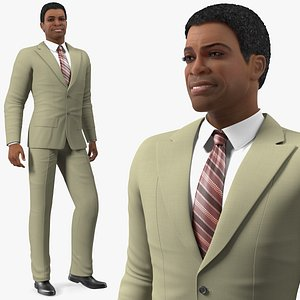 Light Skin Black Man in Formal Suit 3D model