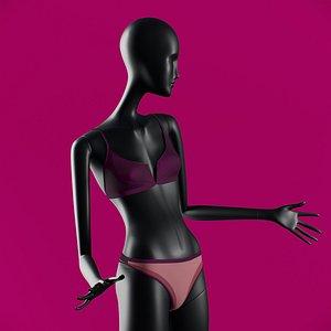 3D Woman swim V-splice Bralette Purple model