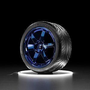 3D Car wheel Maxxis Victra tire with RAYS Volk SAGA rim