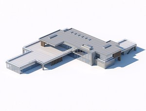3D High-poly coworking office city building model