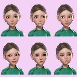 3D Cartoon Girl Rigged Animation model