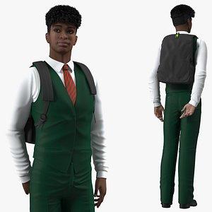 Black Teenager Dark Skin School Uniform Rigged 3D model