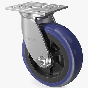 3D Albion Stainless Steel Industrial Caster model