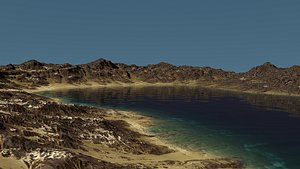 3D Rocky Hill And Lake model