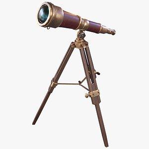 3D Stylized Antique Telescope model