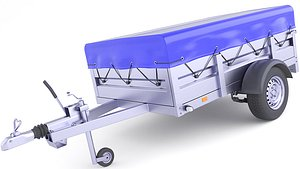 3D Covered Cargo Trailer 30