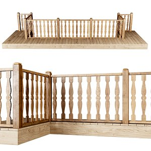 stair fencing wooden 3D model