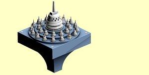3D Borobudur Tample Light Miniature