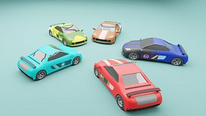 Stylized low poly racing car pack 3D