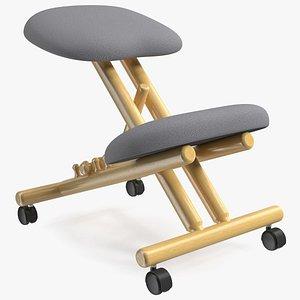 Mobile Wooden Ergonomic Kneeling Chair 3D model