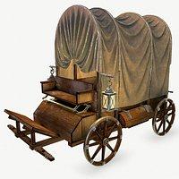 Wooden covered cart 3d model