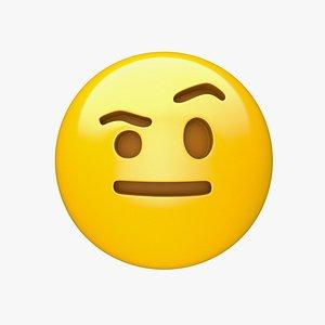 Apple Face with Raised Eyebrow 3D model