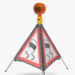3D model sided traffic sign slippery