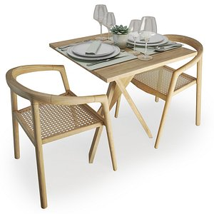 Wood And Rattan Table And Chairs Set AtelierS 3D model