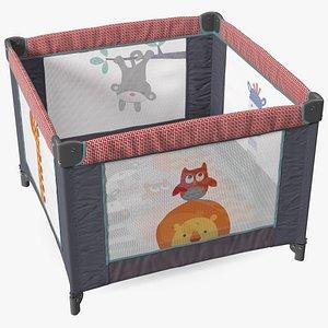 Folding Square Baby Playpen 3D