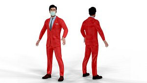Fur Red Suit Man With Face Mask Rigged 3D model