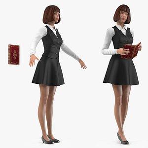 Teenage Girl School Uniform Rigged 3D model