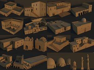 36 Mardin Old Houses Set Buildings Low-poly 3D model model