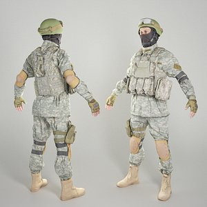 3D Fully equipped American soldier in A-pose 317