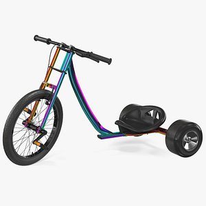 3D model Razor DXT Drift Trike Colored Chrome Rigged