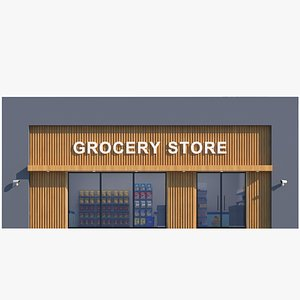 3D Interior And Exterior Grocery Store model
