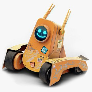 3D Cute Orange Rover Robot - Game and Film Ready