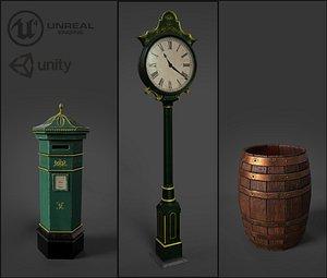 Victorian Street Assets Clock Barrel Postbox 3D model